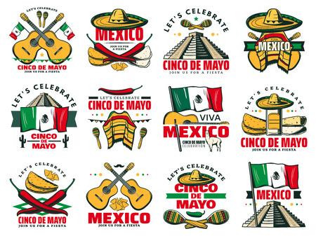 Viva Mexico icon for Cinco de Mayo mexican holiday Vettoriali