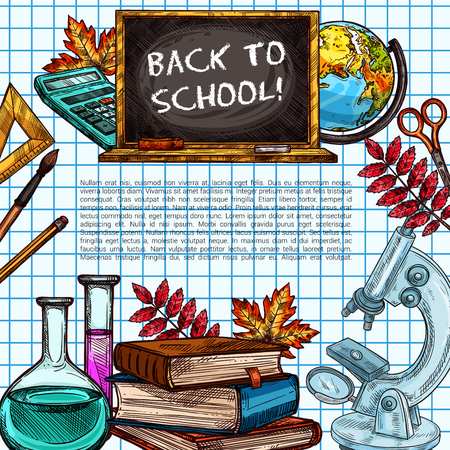 Back to school supplies poster on squared paper