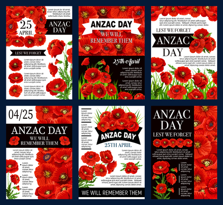 Anzac Day 25 April poster template vector illustration Ilustração