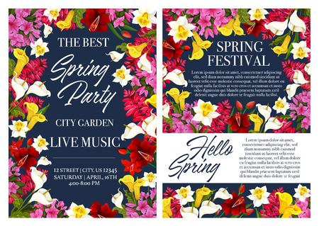 Spring holiday party invitation with flower frame Illustration