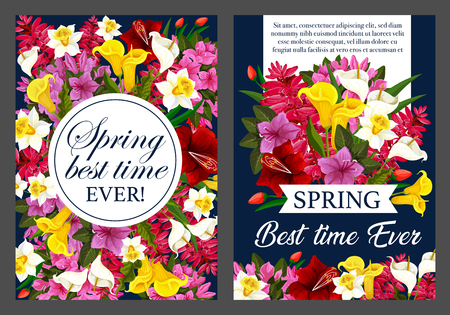 Springtime holiday poster template vector illustration