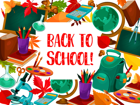 Back to School poster template vector illustration Ilustração