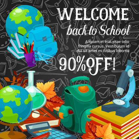 back to school season promotion poster template vector illustration