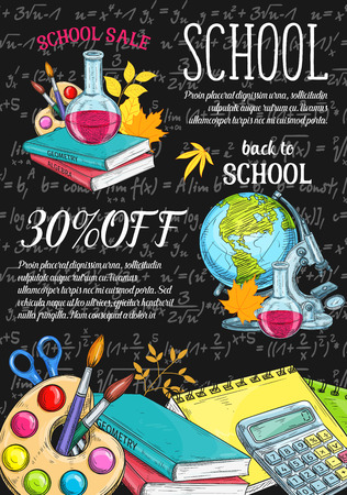 Back to School sale poster template vector illustration