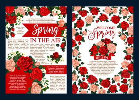 Spring holiday banner with flower frame and ribbon Illustration