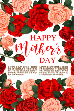 A Vector floral roses flowers for Mother day card