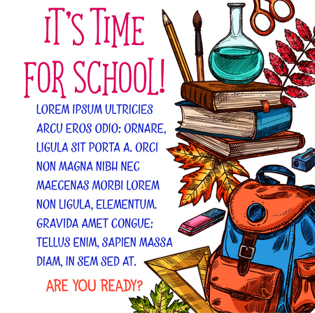 Back to School vector education sketch poster with books