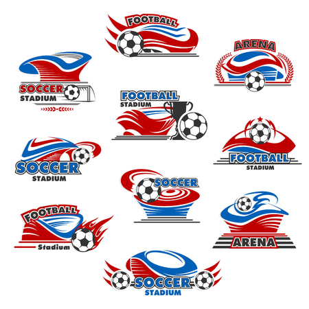 Soccer sport stadium icon of sporting building. Football sport game arena with ball and winner trophy cup symbol, decorated by flame, champion wreath and goal gate for championship tournament design Vector illustration.