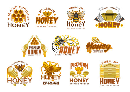 Honey premium sweet food icon set. Honeycomb with honey drop, bee and beehive, beekeeper hat and wooden dipper isolated symbol for beekeeping farm emblem and honey packaging label design Banco de Imagens - 99065186