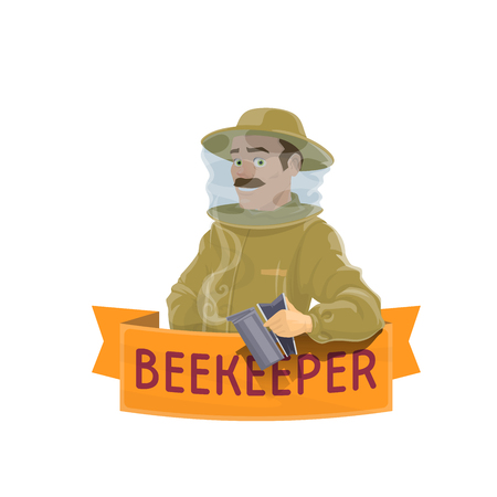 Beekeeper in hat icon for beekeeping farm design