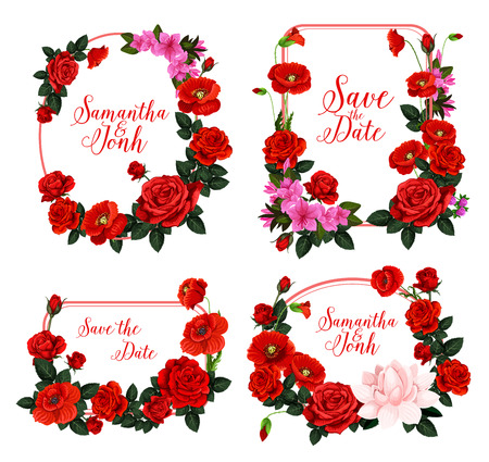 Wedding invitation design with frame of red flower Фото со стока - 99182899