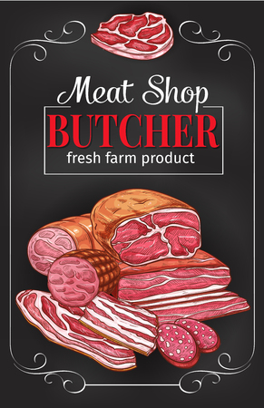 Butcher shop blackboard with meat and sausage Reklamní fotografie - 99182902