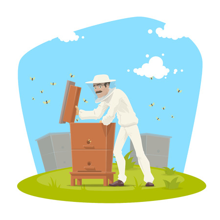 Beekeeper with beehive and bee honey icon