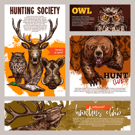 Hunting club banner with animal design Stock Vector - 99182928