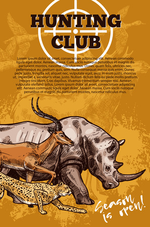 Hunting club banner with target and african animal Çizim