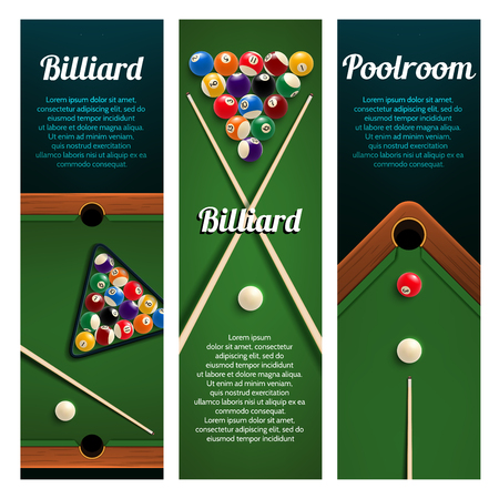 Billiards sport club or pool room banner with ball