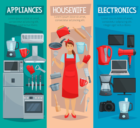Housewife, home appliances and kitchenware banner