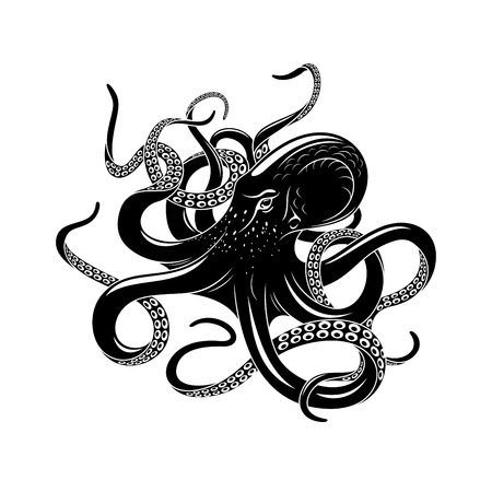 Octopus icon for sea monster tattoo design Vettoriali
