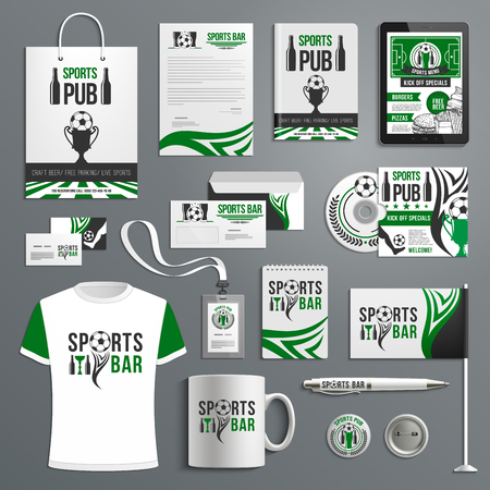 Corporate identity of sport bar with beer, ball