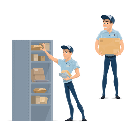 Postman, delivery man, mailman or courier icon Illustration