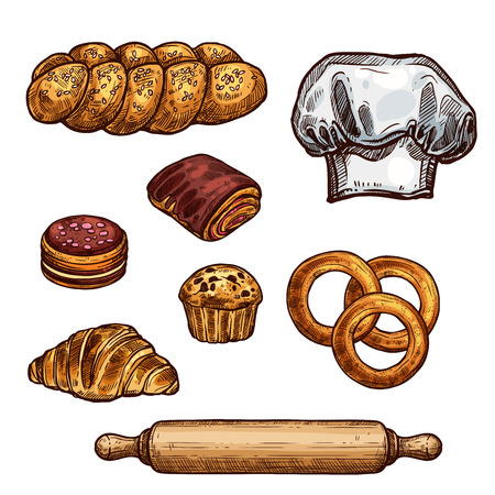 パン、クロワッサン、パン、ケーキ、カップケーキスケッチ