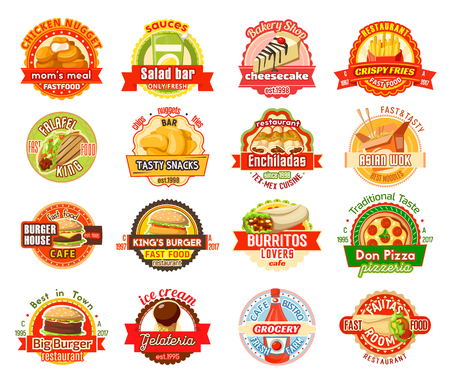 Fast food label for american, mexican, asian cafe