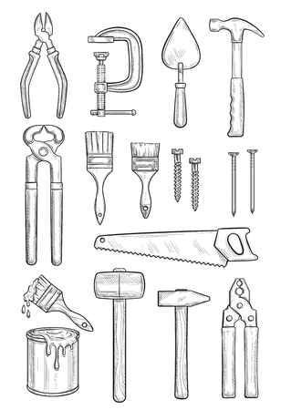 Repair tool sketch for construction and carpentry Illustration