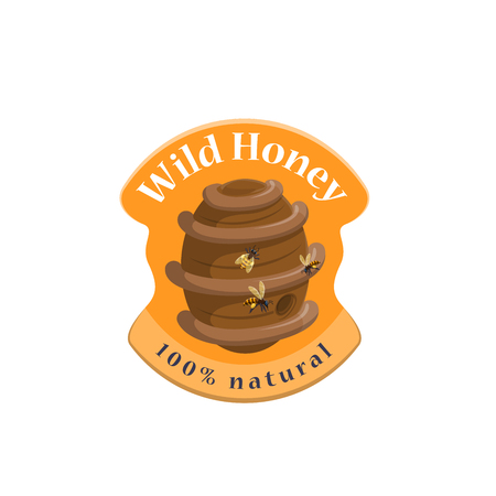 Wild honey bee hive symbol for label design Illustration