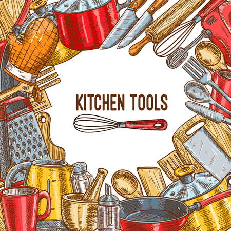Kitchen tool, utensil or kitchenware sketch poster Standard-Bild - 99182957