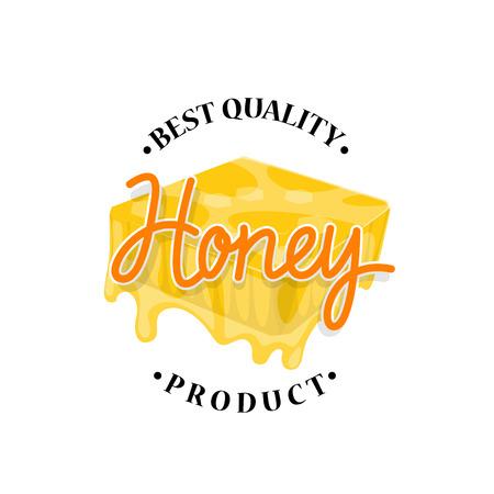ハニカムラベルデザインから流れる蜂蜜  イラスト・ベクター素材