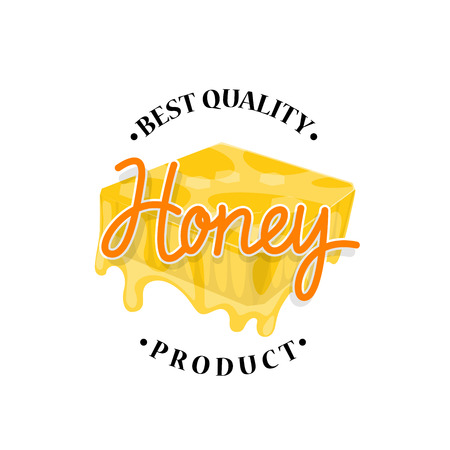 Honey flowing from honeycomb label design Illustration