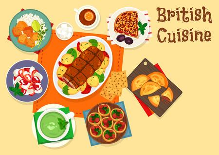 Britische Küche traditionelle Fleischgerichte Symbol Standard-Bild - 99182986