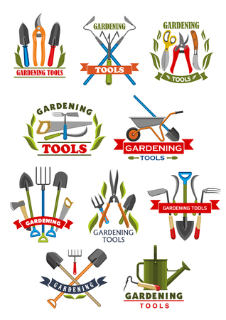 Gardening tool badge with instrument and equipment