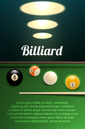 Billiards sport 3d banner with table, ball and cue Reklamní fotografie - 99083197