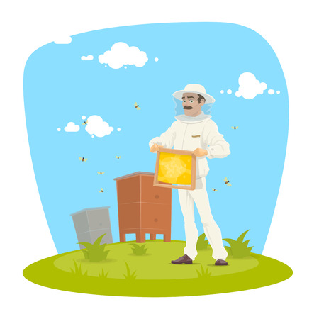 Beekeeper with honeycomb on apiary icon. Mustached apiarist in white protective costume and hat holding beehive frame of honeycomb with honey and bee for beekeeping and apiculture themes design