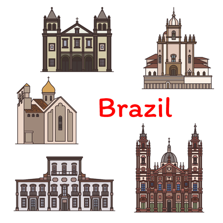 Brazilian travel landmark of Rio de Janeiro icon. Church of Our Lady of the Candelaria, Church of Our Lady of the Glory, Monastery of St. Benedict, Imperial Palace, Church of the Sacred Heart of Jesus