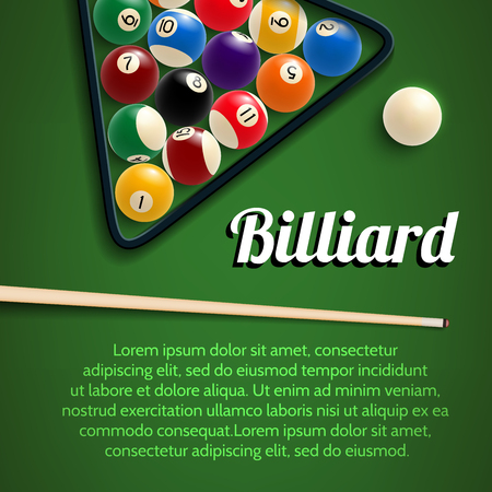 Billiards sport game 3d poster for pool room or billiard club template. Green billiard table in starting position with ball, cue and rack or triangle for pool or snooker game tournament banner design Ilustrace