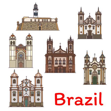 アッシジとパオラの聖フランチェスコ教会のブラジルの旅行ランドマークアイコン、メトロポリタン大聖堂、カルメルの聖母教会と観光デザインの  イラスト・ベクター素材