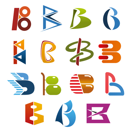 Letter B isolated icon set of abstract alphabet symbol. Business identity and corporate branding font design of B capital character with green, blue and red geometric figure, circle and curved line Vettoriali