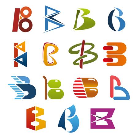 Jeu d'icônes isolé lettre B du symbole de l'alphabet abstrait. Identité d'entreprise et conception de polices de marque d'entreprise du caractère B majuscule avec figure géométrique verte, bleue et rouge, cercle et ligne courbe