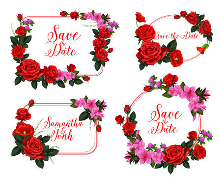 Wedding card with Save the Date floral frame. Red rose, poppy, clover and pink lily flower wreath for wedding celebration invitation and anniversary greeting card template design Фото со стока - 99082657