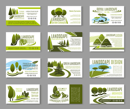 Landscape design studio business card template