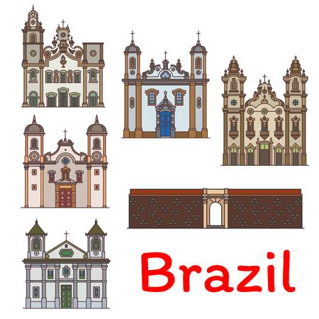 Brazilian travel landmark with architecture of Brazil. Forte do Castelo, Church of Santa Efigenia dos Pretos, Our Lady Of Carmo Basilica, Monastery of St Anthony and Basilica do Bom Jesus do Matosinho