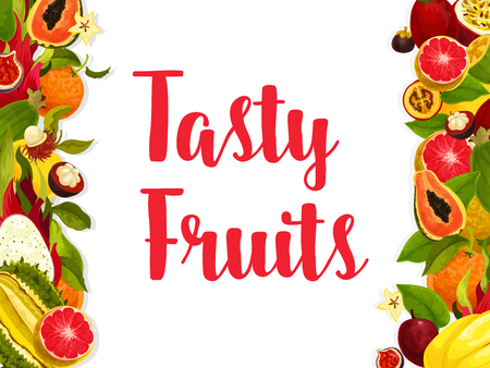 Exotic fruit banner, edged by fresh tropical berry Illustration