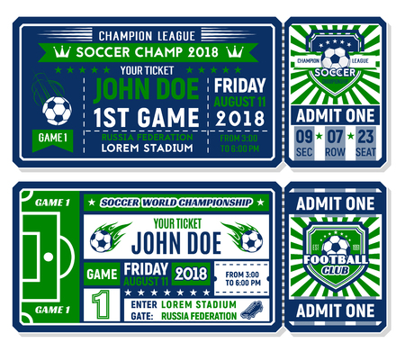 Soccer ticket for football championship match Vectores