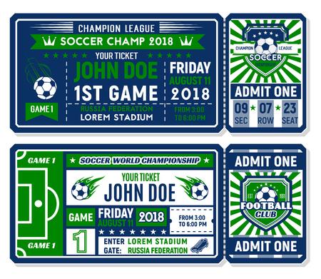 Soccer ticket for football championship match Stock Illustratie