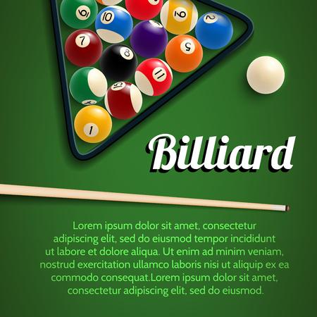 Biliardo poster 3d con tavolo verde, palla e stecca Archivio Fotografico - 99201538
