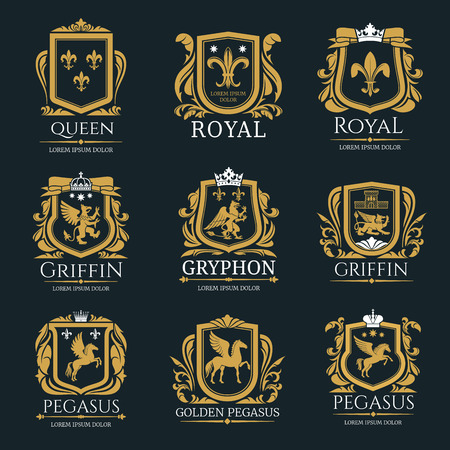 Royal heraldry logo set Фото со стока - 99637099