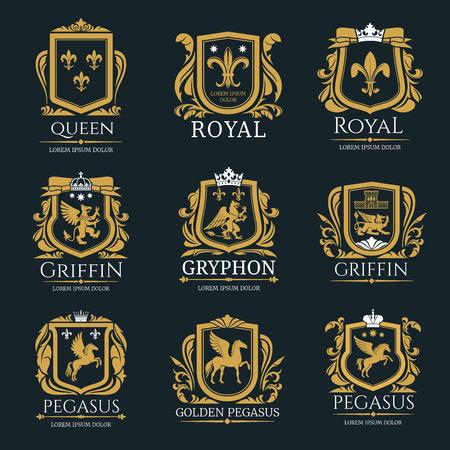 Zestaw logo królewskiej heraldyki