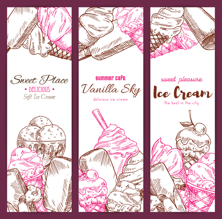 Ice cream cafe sketch vector banners set